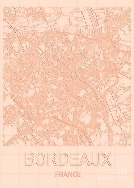 Digital Art - Bordeaux Blueprint City Map by Helge