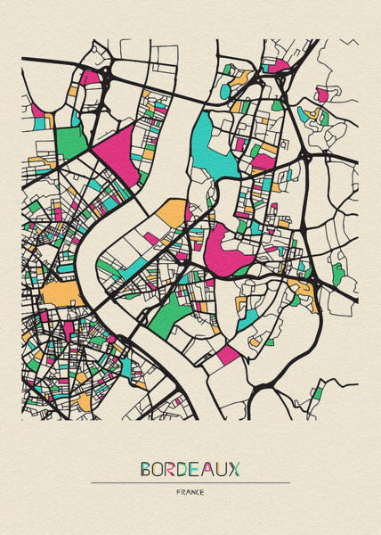 Drawing - Bordeaux, France City Map by Inspirowl Design