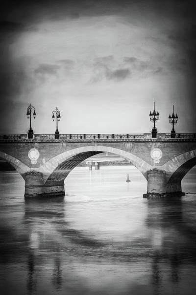 Wall Art - Photograph - Bordeaux France Pont De Pierre Black And White by Carol Japp