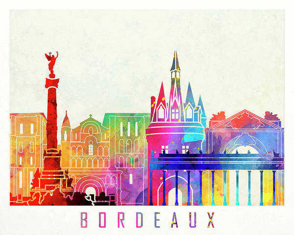 Wall Art - Painting - Bordeaux Landmarks Watercolor Poster by Pablo Romero