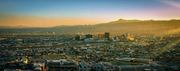 Downtown El Paso Photograph - Border City Pano by William Chizek