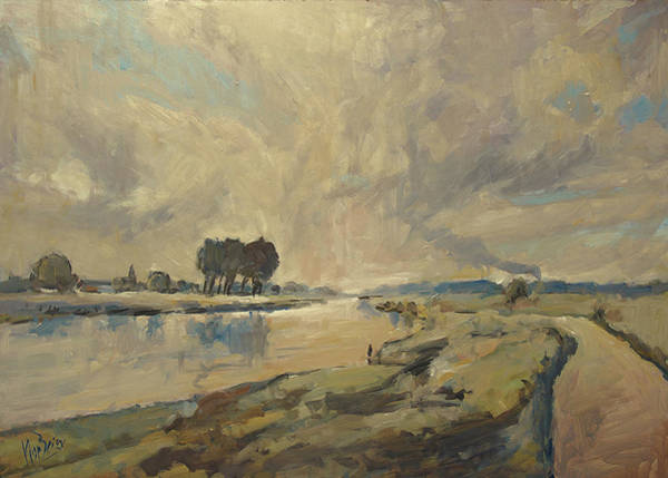 Wall Art - Painting - Border Maas Near Kotem With The View To Meers by Nop Briex