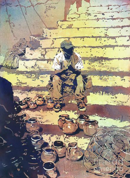 Wall Art - Painting - Bored Market Vendor- Guatemala by Ryan Fox