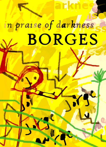 Drawing - Borges Darkness Poster  by Paul Sutcliffe