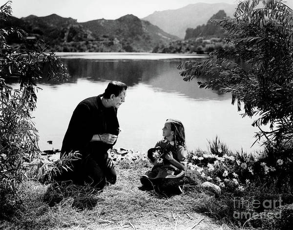 Photograph - Boris Karloff As Frankenstein By The Lake With Little Girl  by Doc Braham