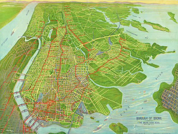 New York Wall Art - Mixed Media - Borough Of Bronx, Birdview Map 1921 by Zal Latzkovich