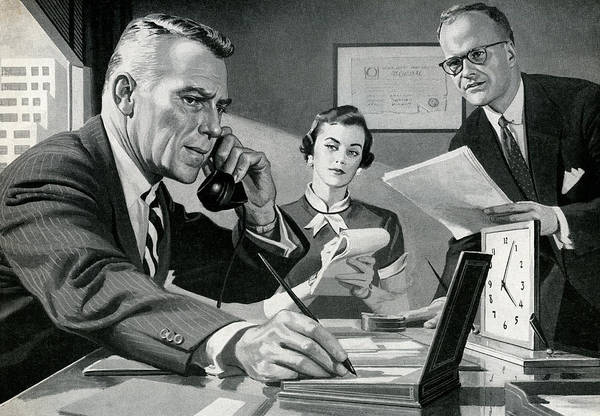 Secretary Digital Art - Boss On The Phone In Office by Graphicaartis