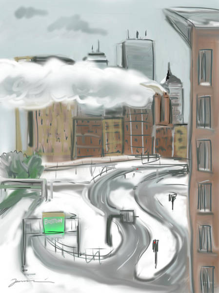 Painting - Boston After The Blizzard by Jean Pacheco Ravinski