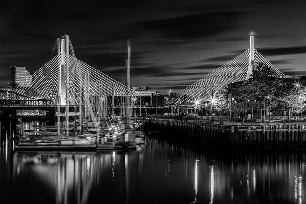 Wall Art - Photograph - Boston Bunker Hill Bridge - Monochrome by Melanie Viola