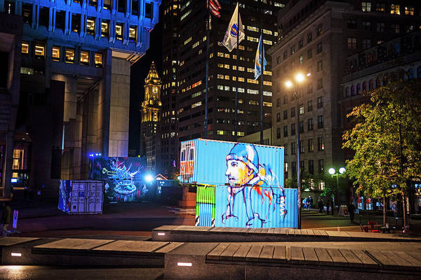 Photograph - Boston City Hall Plaza Boston Ma Hub Week Blue by Toby McGuire