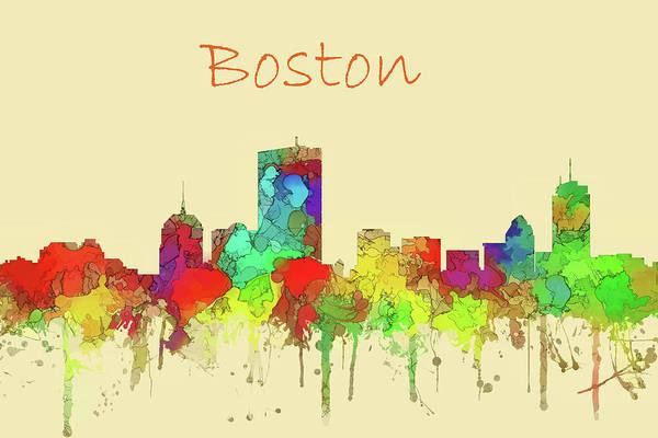 Wall Art - Digital Art - Boston City Skyline Watercolor by Watson Mckeating
