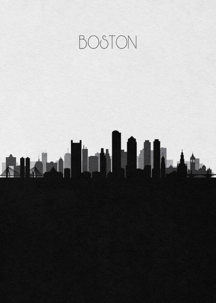 Wall Art - Digital Art - Boston Cityscape Art V2 by Inspirowl Design