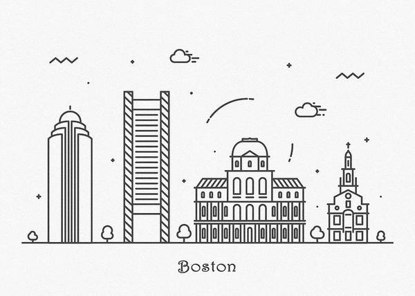 Wall Art - Drawing - Boston Cityscape Travel Poster by Inspirowl Design