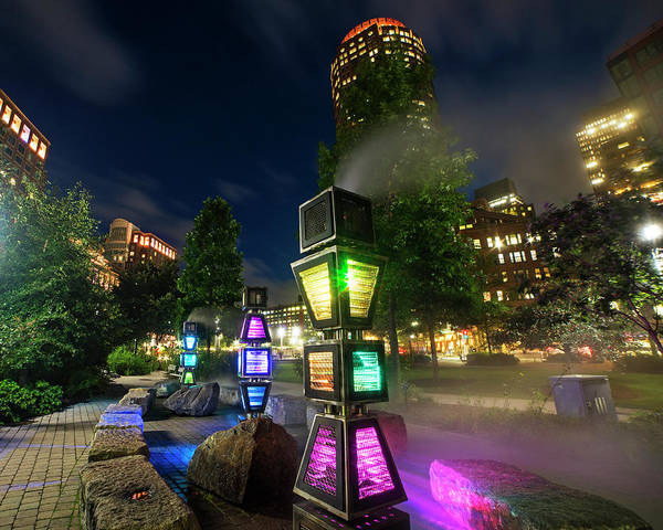 Photograph - Boston Colored Steam Lights Boston Ma Rose Kennedy Greenway Steamy by Toby McGuire