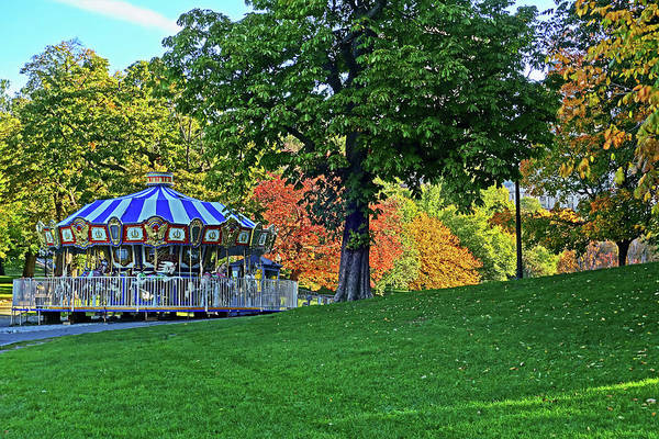 Photograph - Boston Common Carousel Boston Ma Autumn Trees Foliage by Toby McGuire