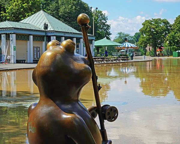 Photograph - Boston Common Frog Statue Fishing Pole Boston Ma by Toby McGuire