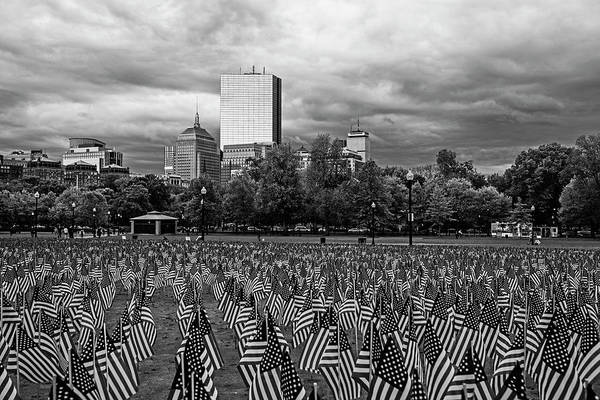 Photograph - Boston Common Memorial Day Flags Dramatic Sky Boston Ma Black And White by Toby McGuire