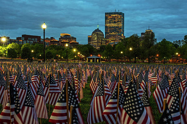 Photograph - Boston Common Memorial Day Flags Dramatic Sky Boston Ma Night by Toby McGuire