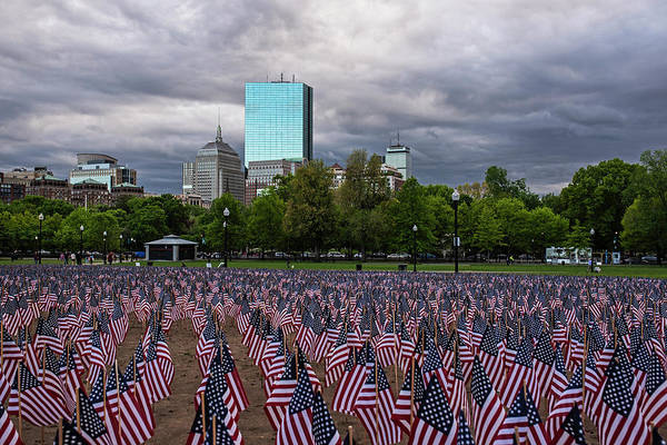Photograph - Boston Common Memorial Day Flags Dramatic Sky Boston Ma by Toby McGuire