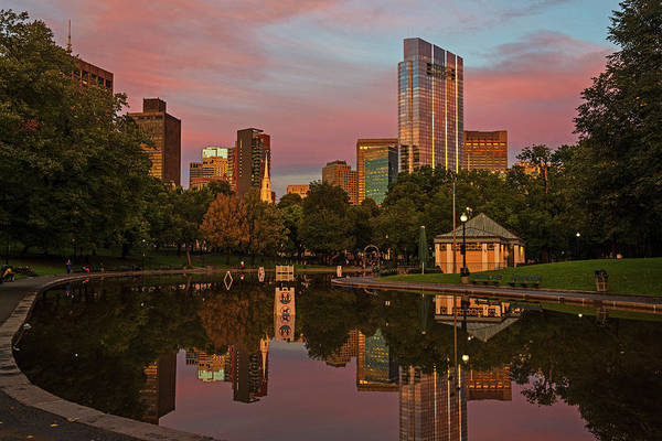 Photograph - Boston Common Frog Pond At Sunset Boston Ma Red Sky by Toby McGuire