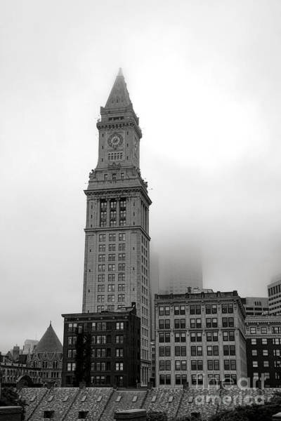Photograph - Boston Custom House Tower In Fog by Olivier Le Queinec