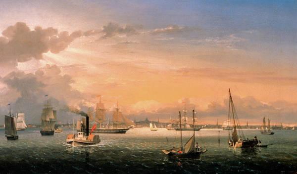 Wall Art - Painting - Boston Harbor, 1854 by Fitz Henry Lane