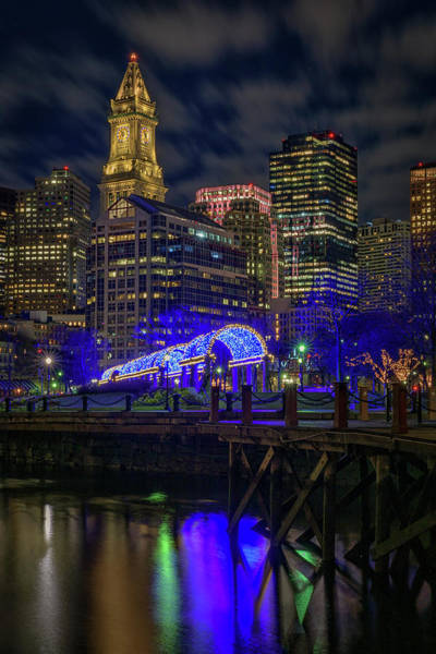 Photograph - Boston Harbor And Christopher Columbus Park At Night by Kristen Wilkinson