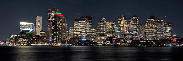 Photograph - Boston Lit Up For Christmas Panorama Boston Ma Boston Skyline by Toby McGuire