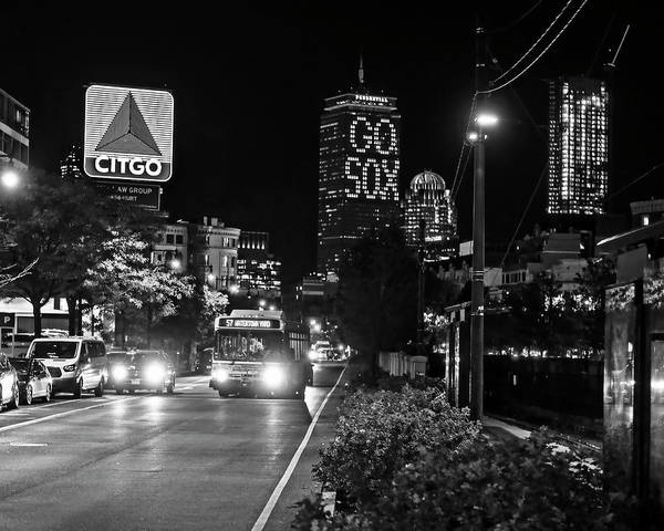 Photograph - Boston Ma Commonwealth Ave Citgo Sign Black And White by Toby McGuire