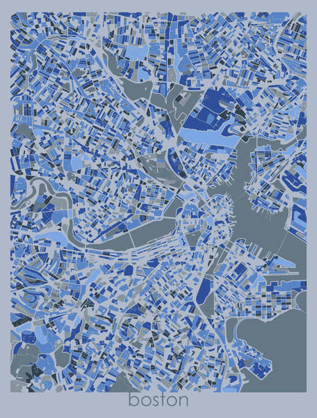 Wall Art - Digital Art - Boston Map Retro 5 by Bekim M