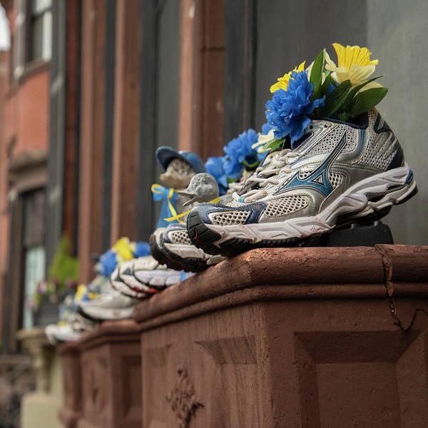 Photograph - Boston Marathon Sneakers Window Display by Joann Vitali
