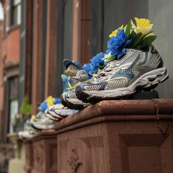 Photograph - Boston Marathon Sneakers Window Display by Joann Vitali