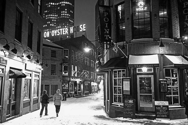 Photograph - Boston Marshall Street Snowy Street Winter Black And White by Toby McGuire