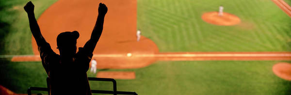 Wall Art - Photograph - Boston, Mass, Fenway Park, Red Sox Vs Yankees 3rd Base Roof Box With Fan Silhouette by Panoramic Images