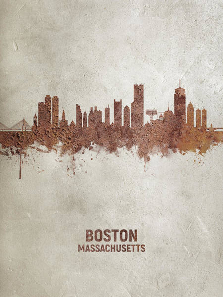 Wall Art - Digital Art - Boston Massachusetts Rust Skyline by Michael Tompsett