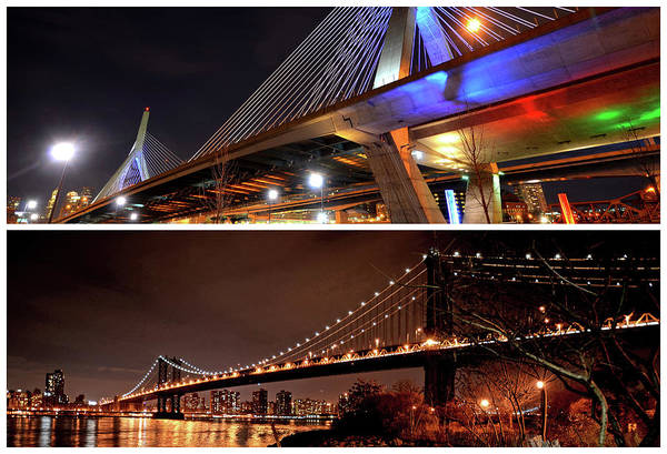 Photograph - Boston Meets New York Zakim Bridge Manhattan Bridge Massachusetts New York by Toby McGuire