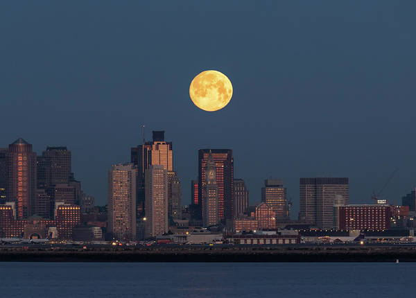Photograph - Boston Moonset by Rob Davies