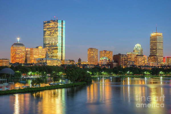 Boston Night Skyline II Art Print