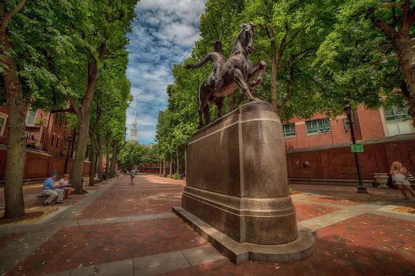 Photograph - Boston North End - Paul Revere Statue by Joann Vitali