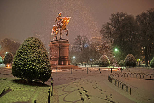 Photograph - Boston Public Garden Goerge Washington Statue Snowstorm Boston Ma by Toby McGuire