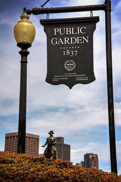 Wall Art - Photograph - Boston Public Garden Sign Boston Massachusetts by Carol Japp