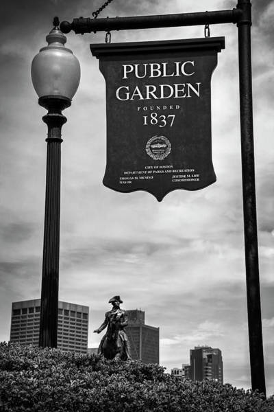 Wall Art - Photograph - Boston Public Garden Sign Boston Massachusetts In Black And White by Carol Japp