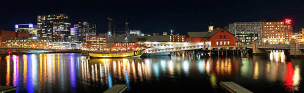 Photograph - Boston Seaport Panorama At Night Boston Ma Reflection Boston Harbor by Toby McGuire