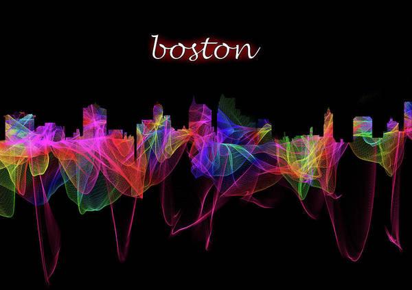 Digital Art - Boston Skyline Art With Script by Debra and Dave Vanderlaan