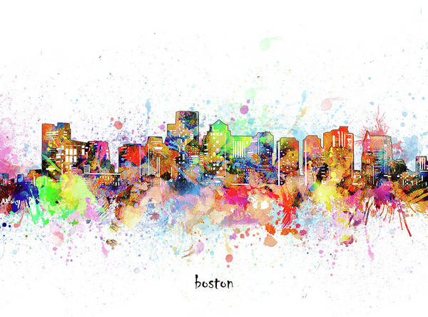 Wall Art - Digital Art - Boston Skyline Artistic by Bekim M