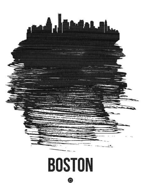 Wall Art - Photograph - Boston Skyline Brush Stroke Black by Naxart Studio