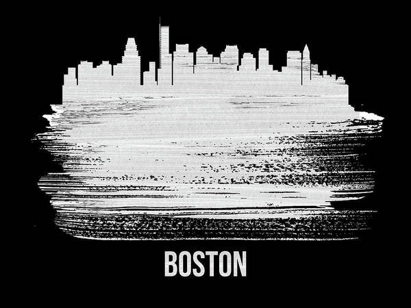 Wall Art - Mixed Media - Boston Skyline Brush Stroke White by Naxart Studio