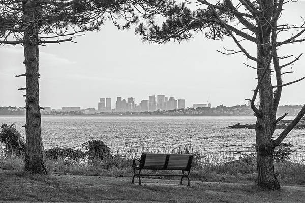 Photograph - Boston Skyline From Nahant Bailey's Point Nahant Ma Black And White by Toby McGuire