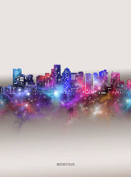 Wall Art - Digital Art - Boston Skyline Galaxy by Bekim M