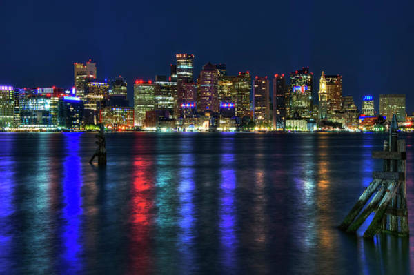 Photograph - Boston Skyline Harborside At Night  by Joann Vitali